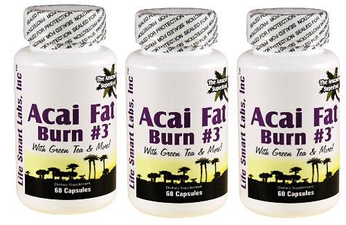 Grasa de ACAI Burn #3 (3 botellas) todos pura dieta píldora con té verde, pomelo, sidra de manzana y más por la pérdida de peso y quema grasa