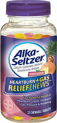 Acidez de Alka-Seltzer Plus Gas Relief mastica, Tropical Punch, cuenta 32 paquete de 4