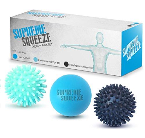 Juego de pelota de masaje (1 Lacrosse, 1 suave dura y 1 punta) terapia física, tejido profundo, pie, Yoga, deportes y bolas de masaje Prenatal del uno mismo - perfecto para puntos gatillo y liberación miofascial