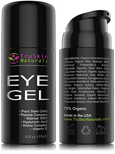 MEJOR ojo de Gel crema para las arrugas, líneas finas, ojeras, ojeras y bolsas - 100% Natural, 75% orgánicos, con ácido hialurónico, aceite de Jojoba, MSM, péptidos y más - TruSkin Naturals