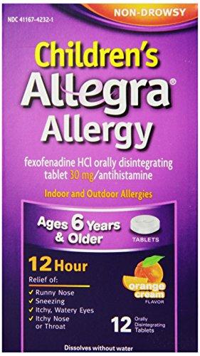 Alivio de alergia de 12 horas de Allegra para niños, con sabor a crema de naranja, 12 tabletas