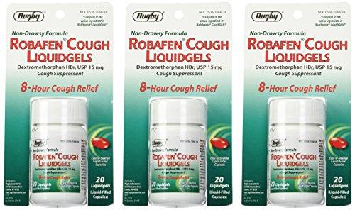 Robafen tos Liquidgels dextrometorfano HBr, USP 15mg, 20 Liquidgels (3 paquetes)