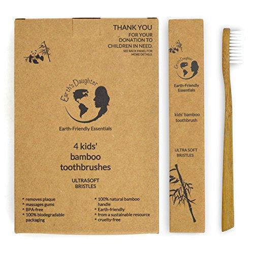 Cepillos de dientes hija de bambú Biodegradable, respetuoso del medio ambiente, Natural niños de la tierra con cerdas de Nylon Ultrasoft BPA-libre - Pack 4