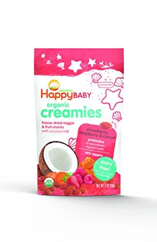 Bebé feliz Creamies orgánicos vegetales liofilizados y Snacks de fruta con leche de coco, fresa, frambuesa y zanahoria, 1 oz (paquete de 8)