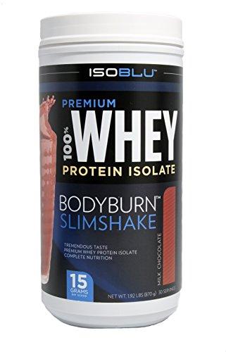ISOBLU Premium 100% proteína de suero aislar peso gestión BodyBurn SlimShake proteína Boost (Chocolate con leche)