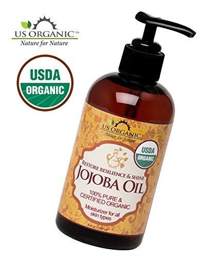 #1 el aceite de Jojoba orgánica, certificado orgánico por la USDA, 100% puro y Natural, frío presionado Virgen, sin refinar, ámbar botella de plástico con bomba para facilitar la aplicación, nos orgánicos, 8 oz (240 ml)