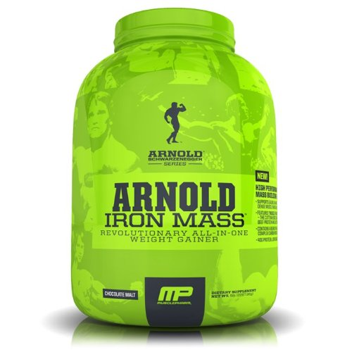 Músculo Pharm Arnold Schwarzenegger serie hierro masa peso Gainer, Malta Chocolate, 5 libras
