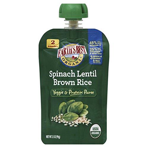 De tierra mejor orgánica etapa 2, espinacas, lentejas y arroz, bolsa de 3,5 onzas (Pack de 12)
