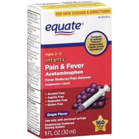 equate Dolor y Fiebre Acetaminofeno 160 mg líquido de suspensión bebés Uva 1 Fl Oz