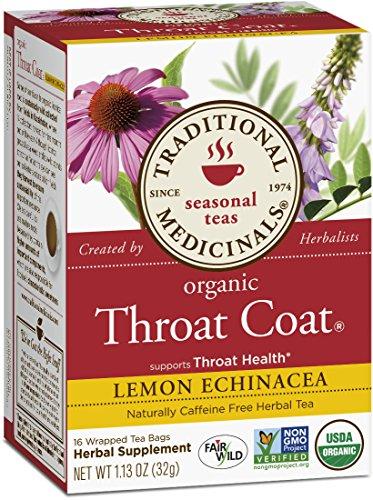 Medicinales tradicionales garganta orgánicos capa limón té de equinácea, 16 bolsas de té (paquete de 6)