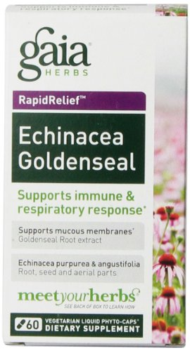 Gaia hierbas Echinacea Goldenseal líquido Fito-cápsulas, cuenta 60