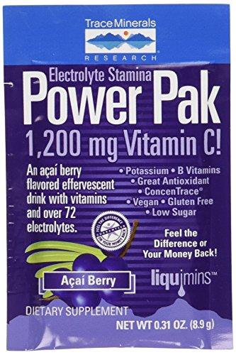 Paquetes de electrolitos aguante Power Pak Acai Berry minerales 32-8.9 g (oz 0,31)