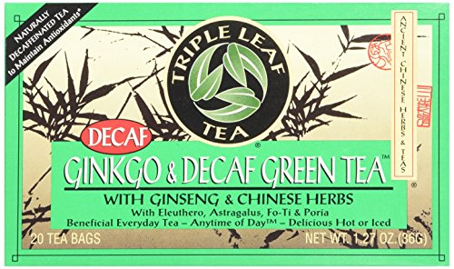 Triple hoja de té, Ginkgo y el té verde descafeinado, 20 bolsitas de té (paquete de 6)