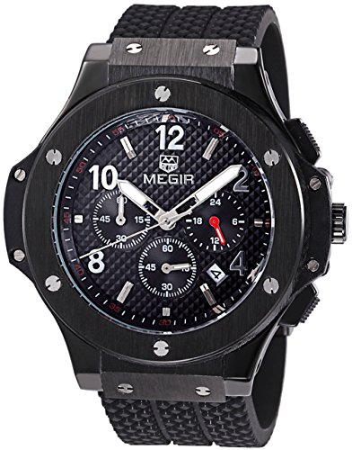 Cronógrafo 24 Hr indicador deportes militares relojes 3ATM impermeable negro de acero inoxidable relojes Voeons hombres