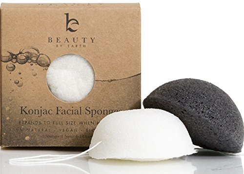 Exfoliante Facial suave de la esponja - Pack de 2 esponjas (carbón blanco del negro y Natural) de sensible a la grasa y la piel propensa del acné - konjac Facial, limpiador y exfoliación - 100% Natural de la belleza de la tierra