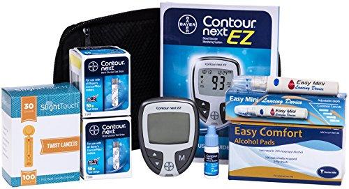 Contorno próximo Diabetes pruebas Kit - contorno próximo medidor de Ez, 100 Bayer Contour a continuación prueba de tiras, 100 lancetas de 30g, 1 dispositivo de punción, solución de Control, 100 Alcohol Prep Pads