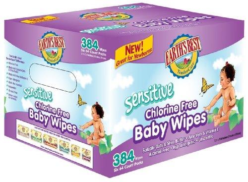 Mejor sin cloro toallitas de la tierra, sensible, cuenta 384
