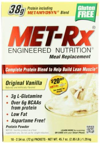 Polvo de reemplazo de comidas de MET-Rx caja - caja 18-cuenta, a 2,54 onzas vainilla Original