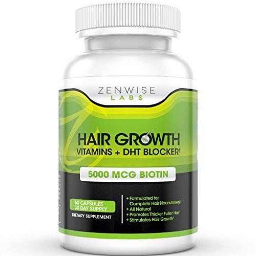 Suplemento de vitaminas crecimiento cabello - 5000mcg de bloqueador de DHT y biotina para la pérdida del cabello y la calvicie - contiene vitaminas que estimulan el crecimiento y brillo de cabello para hombres y mujeres - 60 pastillas vegetarianas de amab