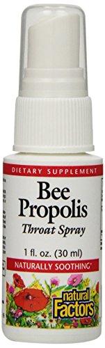Factores naturales Bee Propolis Spray para la garganta, 1 onza líquida