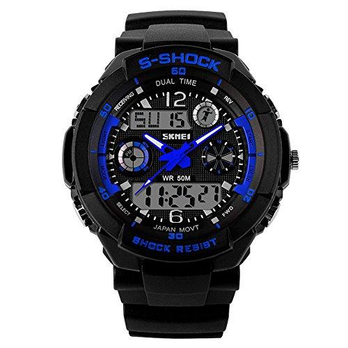 Fanmis Unisex Sport reloj multifunción verde Led luz Digital impermeable S - Shock reloj de pulsera (azul)
