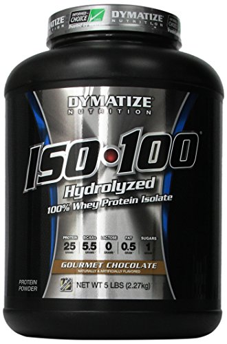 Dymatize ISO 100 Post entrenamiento y recuperación suplementos, Chocolate Gourmet, 5 libras