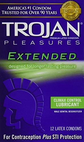 Placeres de Trojan extendida placer lubrican látex condones 12 ct (cantidad 3)