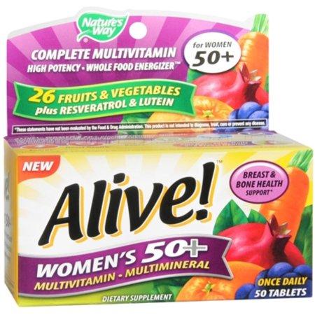 Alive- Camino de la Naturaleza Una vez 50- alta potencia multivitamínico 50 ea Femenino Diario (Pack de 3)