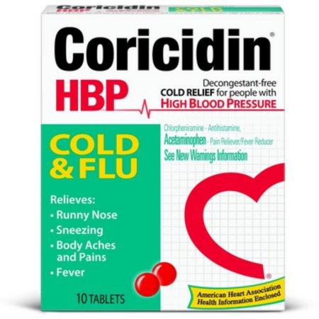 Coricidin HTA resfriado y la gripe 10 comprimidos X 4 Cajas