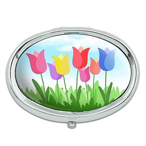 Tulipanes flores Metal Oval caso pastillero