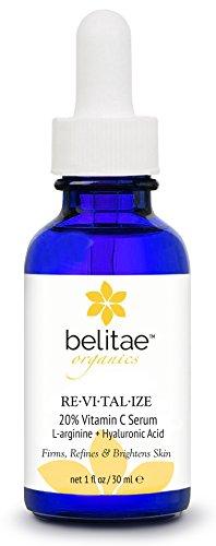 Belitae - suero de vitamina C orgánica para la cara con ácido hialurónico + 20% C 30 ml - ayuda a reparar daños de sol, ojeras, arrugas y manchas de la edad de las líneas se desvanecen y fina - mejor profesional Anti envejecimiento piel cuidado suero