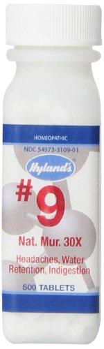 Célula de Hyland's sales #9 Natrum Muriaticum 30 X comprimidos, cefalea homeopático Natural y alivio de la indigestión, cuenta 500