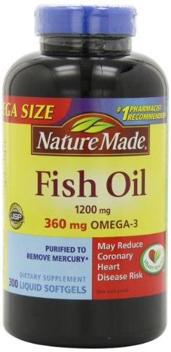 Naturaleza 1200mg de aceite de pescado, 2400 por porción, 360mg de Omega-3, 300 cápsulas