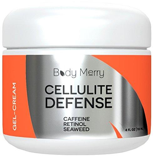 Defensa Gel-crema de celulitis - reduce la apariencia de la celulitis con cafeína, Retinol y algas - mejor loción para el cuerpo reafirmante y tonificante - 4 oz - cuerpo feliz