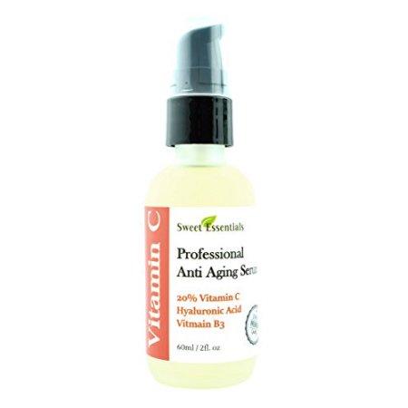 La vitamina C Serum Facial 20% con ácido hialurónico | Hecho con el Real extractos vegetales | La hidratación suave | Lucha contra el envejecimiento | Luchar contra las arrugas, manchas de la edad, decoloración y más | por Sweet Essentials