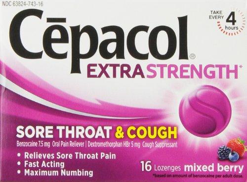 Garganta dolorida Cepacol y tos, embotamiento de la fuerza máxima, acción inmediata, 16 pastillas