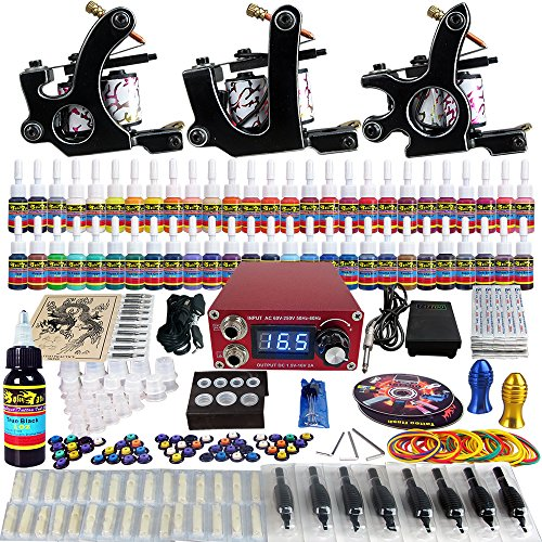 Solong Tattoo® completa tatuaje Kit 3 ametralladoras Pro 54 tintas Power suministro pie Pedal agujas Grips consejos TK352