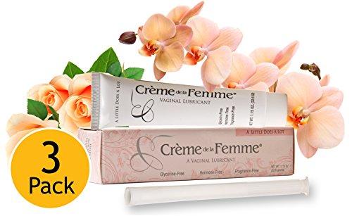 Creme De La Femme, termina Vaginal sequedad 3 Pack (tubos de 3 x 1.15 oz) lubricante Vaginal de íntimo y crema hidratante: crema sedosa para detener la resequedad Vaginal en cualquier edad, se detiene la menopausia Sequedad Vaginal, alivio de coito doloro