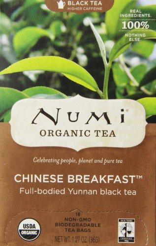 Numi desayuno chino de té orgánico, té negro de hoja completa, 18 bolsas de té de la cuenta