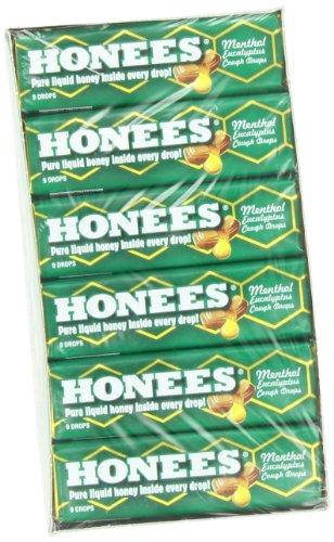 Ambrosoli Honees mentol eucalipto tos, caída de 9 barras (paquete de 24)