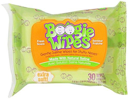 Boogie Kids salina Natural de toallitas y toallitas de nariz para el resfriado y la gripe, aroma fresco, cuenta 30 (Pack de 6)