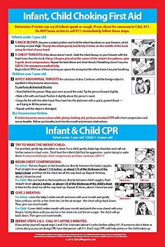 Bebé y niño - CPR y asfixia primeros auxilios - seguridad Poster 12 x 18-2015 directrices