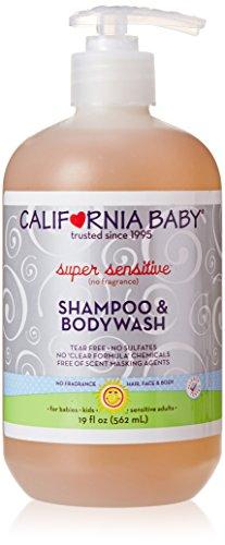 California Baby champú súper sensible y colada del cuerpo, fragancias gratis, 19 onzas