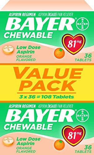 Bayer aspirina masticable la baja dosis de 81mg sabor a naranja (81 mg), tabletas 108-Conde