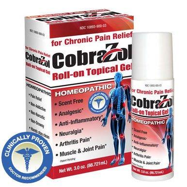 CobraZol Gel tópico dolor crónico roll-on alivio 3oz | Utilizado por dolor sufre de Arthrtis, Neuralgia dolor, músculo y dolor en las articulaciones, síndrome del túnel carpiano