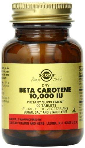 Seco de Solgar Beta caroteno 10,000 UI tabletas, cuenta 100