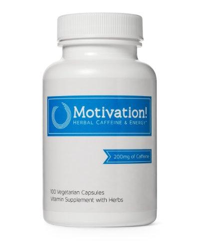 Motivación!: cafeína hierbas + suplemento de vitamina de la energía (con 200mg de cafeína hierbas, Ginseng, té verde, guaraná y más, 100 V-píldoras)