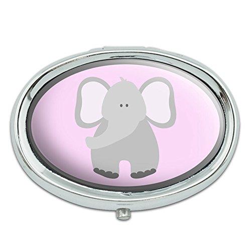 Elefante lindo Pastel Metal Oval caso pastillero