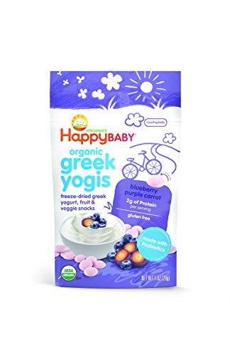 Bebé feliz yoguis griego orgánico liofilizado yogur griego y bocadillos fruta, arándano púrpura zanahoria, 1 onza