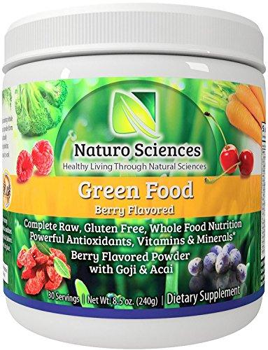 Alimentos verdes naturales Ciencias Naturo - nutrición completa de alimento entero verde cruda con Super poderosos antioxidantes, vitaminas, minerales y Goji Acai - increíble Berry sabor 8.5oz (240g) 30 porciones